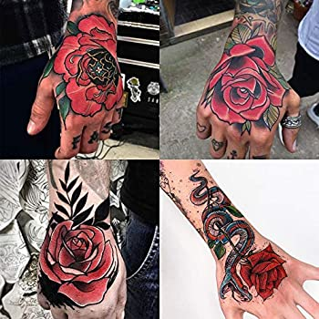 Oottati Waterproof 4 Sheets Back of Hand Fake Temporary Tattoo Stickers - Colorful Red Rose Snake Flower