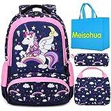 Meisohua Mochila Unicornio Niños Impermeable Mochila Escolar para Adolescente Pequeñas Mochilas Infantil Bolso para Chicas para La Escuela,Viajes,Intemperie Juego de 3 - Azul Navy