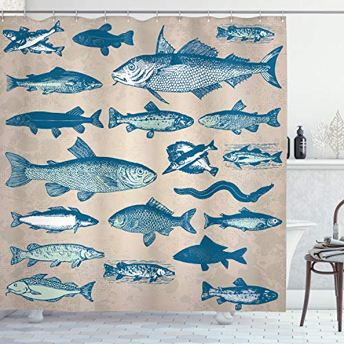ABAKUHAUS Vis Douchegordijn, Vintage Seafood Samenstelling, stoffen badkamerdecoratieset met haakjes, 175 x 180 cm, Veelkleurig