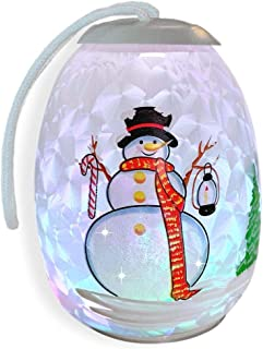 Snowman Christmas Light Glass Ornament - Frosty Globe Ornament with Jolly Snow Man in a Winter Village - Color Changing LED Lights- Christmas Ornament Gift
