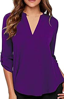 YMING Womens Casual Chiffon Ladies V-Neck Cuffed Sleeves Solid Blouse Tops