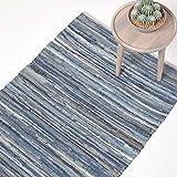 Homescapes Teppich/Bettvorleger aus recyceltem Jeansstoff/Denim, 90 x 150 cm, Jeansteppich, blau