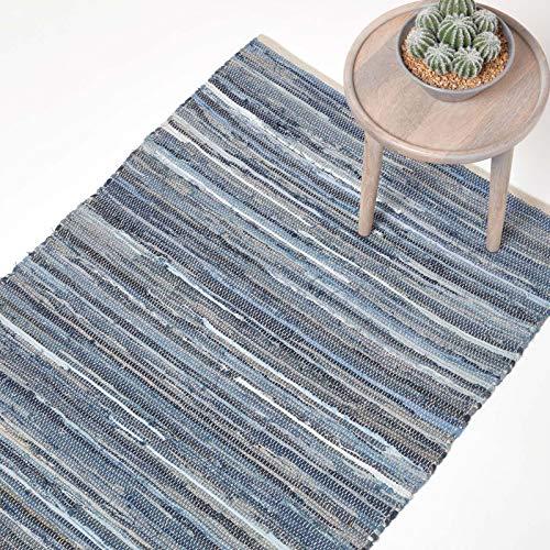Homescapes Flickenteppich/Bettvorleger aus recyceltem Jeansstoff/Denim, 60 x 90 cm, blau