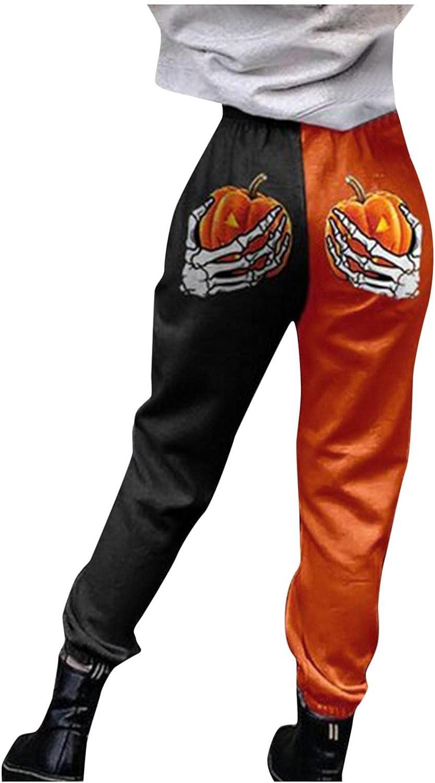 Huangse Women's Halloween Pumpkin Pants Hipster Skull Jack O Lantern Print Bottoms Stretch Waist Tapered Joggers