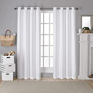 Exclusive Home Curtains Antique Shantung Twill Woven Brushed Window Curtain Panel Pair with Grommet Top, 52x84, Winter White, 2 Piece
