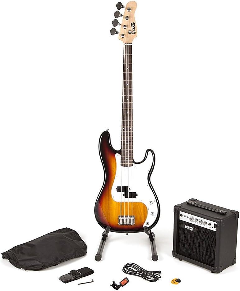 RockJam Super Kit de bajo de tamaño completo con amplificador de guitarra, Sintonizador de guitarra, Soporte, Bolsa y accesorios Sunburst
