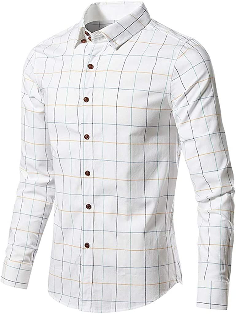Men's Classic Fit Collar Plaid Long Sleeve Casual Button Down Dress Shirt