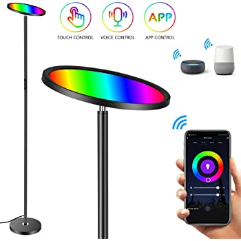 Floor Lamp, HueLiv Super Bright RGBW Smart WiFi LED Floor Lamp for Reading, Dimmable Torchiere, for Living Rooms Bedrooms, for DIY, Compatible with Alexa & Google Home, Black, 25W