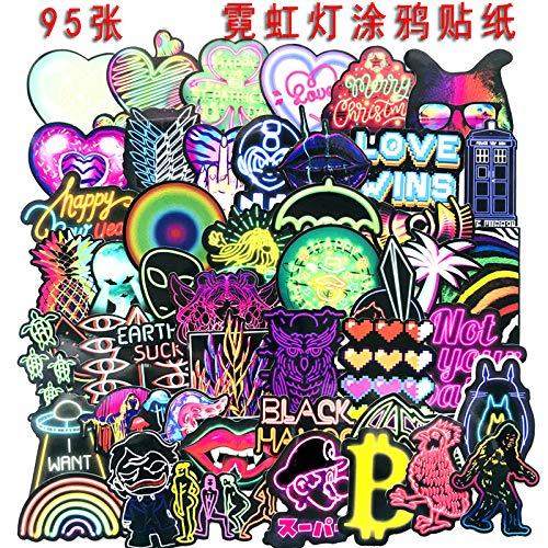 YCYY 95 Pegatinas de Graffiti de neón Led, Caja de Palanca de Equipaje con Personalidad de Dibujos Animados, Pegatina Creativa para Nevera de Coche y Motocicleta