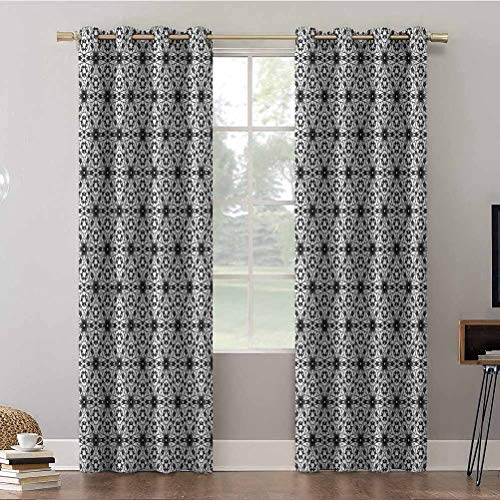 Aishare Store Window Treatment Curtains, 84 inches Long Room Darkening Drapes, Grey and White,Boho Floral Art, Curtains and Draperies for Living Room(2 Panels)
