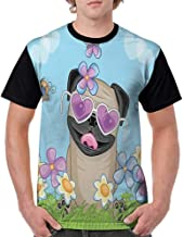 Girls Short Sleeve Tops,Pug,Adorable Puppy on The Field Flowers Butterflies Heart Shaped Clouds Open Sky,Sky Blue Multicolor S-XXL O Neck T Shirt Female Tee