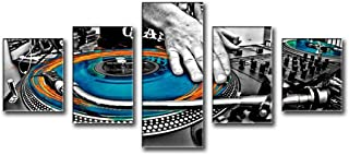 Music Wall Art - Dj Turn Tables Mixer The Track in The Nightclub Vinyl Record Large Painting Pictures Print on Canvas Modern Artwork 5 Pcs/Multi Panel For Home Living Room Decor Wooden Frame