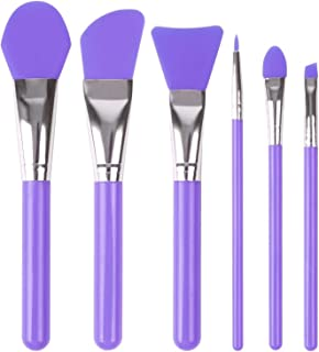 Face Mask Brush, ESARORA Silicone Cosmetic Brush Set of 6 Face Mask Brush set and Eye makeup Brushes (Purple)