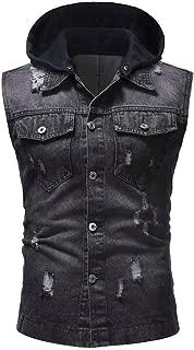 Ankola Men's Hoodie Vest, Mens Workout Hooded Tank Tops Sleeveless Casual Denim Vest Jacket with Detachable Hoodie