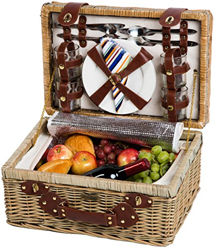 Picnic & Beyond Outdoor Travel The Terazzo Willow Picnic Basket For 4