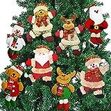 AMENON Christmas Ornaments Set, 8 Pack Christmas Tree Plush Hanging Ornaments Decorations Santa/Snowman/Elk/Bear Ornaments for Christmas Tree Pendant Festive Season Holiday Party Decor