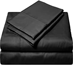 "SGI bedding 600 Thread Count Egyptian Cotton Bed Sheets for Camper's, RV's, Bunks & Travel Trailers 4 Piece Sheet Set 10"" Deep Pocket All Size&Color Solid Queen Black SGI-RV-C10-Chld-016"