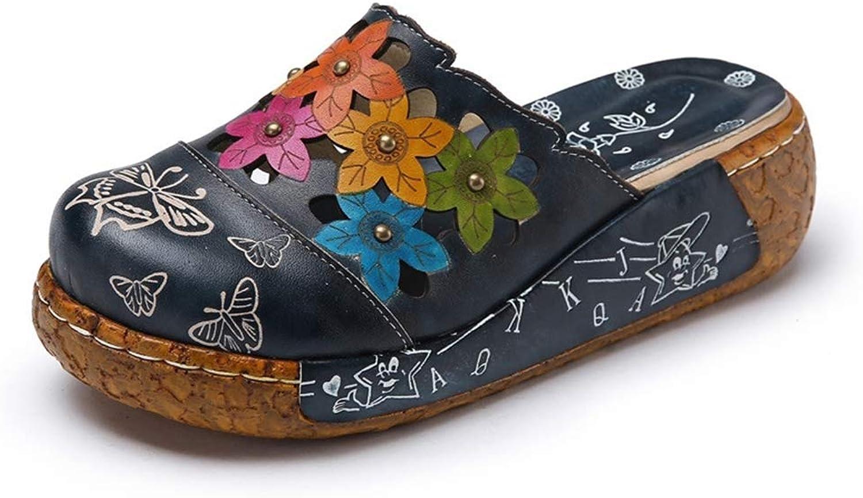 Platform Sandals for Womens Closed Toe shoes Flower Print Retro Handmade Slip On Clogs for Summer Beach Walking
