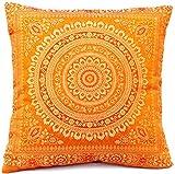 Kashmir Handicrafts Indische Seide Deko Kissenbezüge 40 cm x 40 cm, Extravaganten Design für Sofa...