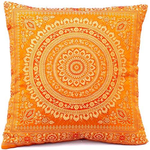 Decoratieve Indiase zijden kussenslopen 40 cm x 40 cm, extravagant design voor bank & bed decoratieve kussenslopen uit India. Aanbieding geldig tot het einde van de maand