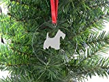 Personalized Custom Scottish Terrier Clear Acrylic Hanging Christmas Tree Ornament with Red Ribbon