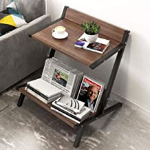 JYQ-SZRQ Accent Table, Wood End Side Table,2-Tier Coffee Bedside Accent Table,Laptop Stand Sofa Couch Desk, Easy to Assemble & Clean (Color : Coffee)