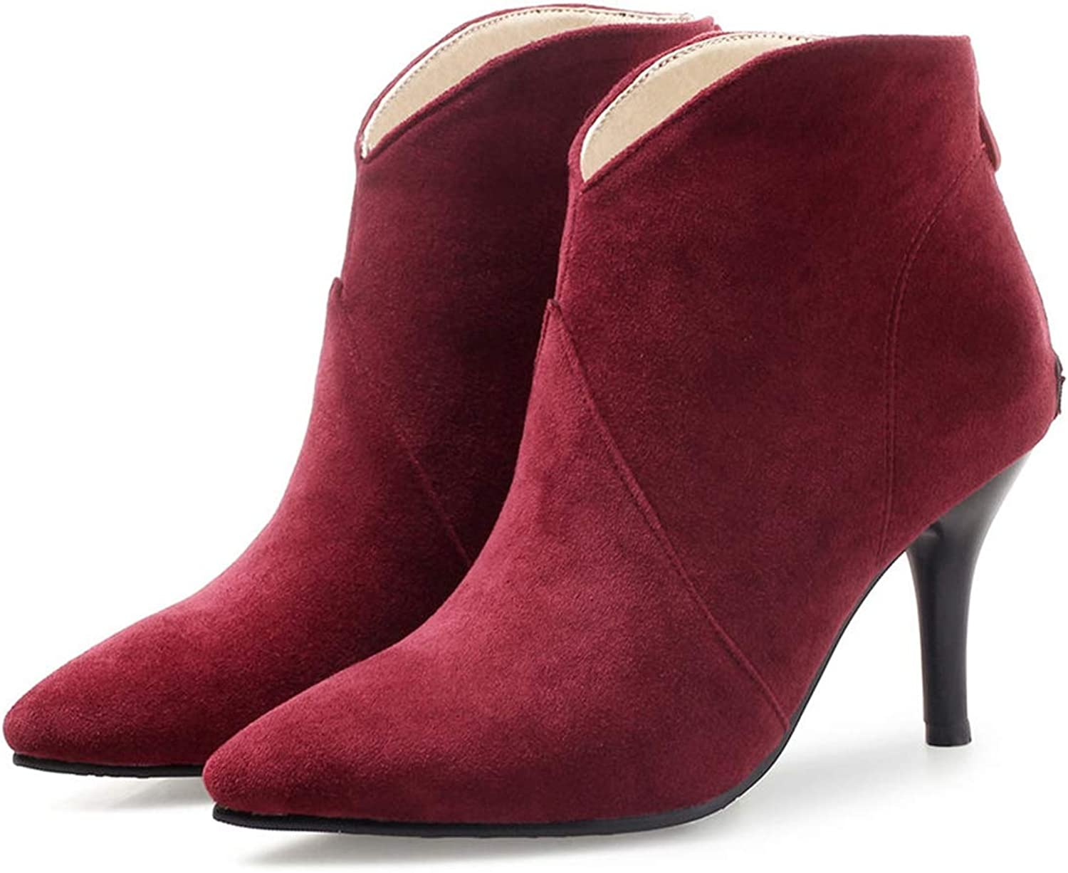 SENERY Women Winter Ankle Boots Fashion Flock Thin High Spike Heel Party Office Pointed Toe Zipper Booties