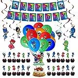 Decoración de Cumpleaños PJ Masks Globos Pancarta de Feliz Cumpleaños Adorno para Tarta Remolinos Colgantes para Niños Pijamask Fiesta de Cumpleaños Decoracion
