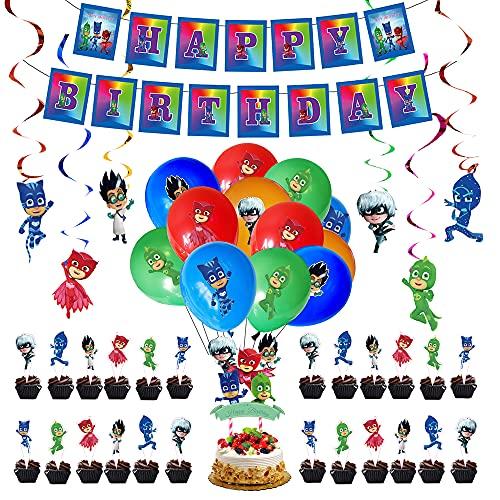 Decorazioni di Compleanno PJ Masks Palloncini Striscioni di Buon Compleanno Torta Topper Decorazioni a Spirale per Bambini Pigiamini Feste Compleanno