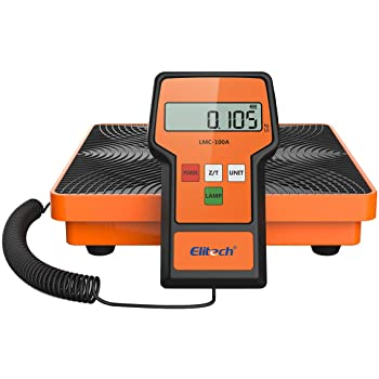 Elitech LMC-100A Digital Refrigerant Charging Weight Scale Freon Scale for HVAC 220Lbs with Case