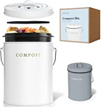 Compost BIN - Stainless Steel Compost Bin for Kitchen Counter - with Inner Compost Bucket for Kitchen, 2 Fruit Fly Trap Fi...