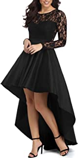Womens Long Sleeve Lace High Low Satin Prom Evening Dress Cocktail Party Gowns