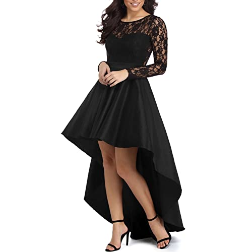 94987524884b Elapsy Womens Long Sleeve Lace High Low Satin Prom Evening Dress Cocktail  Party Gowns