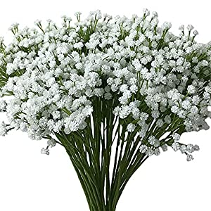 Aisamco 2 Pack Artificial Baby's Breath 14 Forks, Fake Baby's Breath Bulk Flower Bush Artificial Gypsophila in White 15.7″ Tall for Wedding Centerpiece Wreath Boutonniere