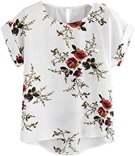 Wanxiaoyyyindx Work Blouses for Women, Summer Flowered Print Blouse Pullover Ladies O-Neck Tee Tops Distaff Women's Short ...