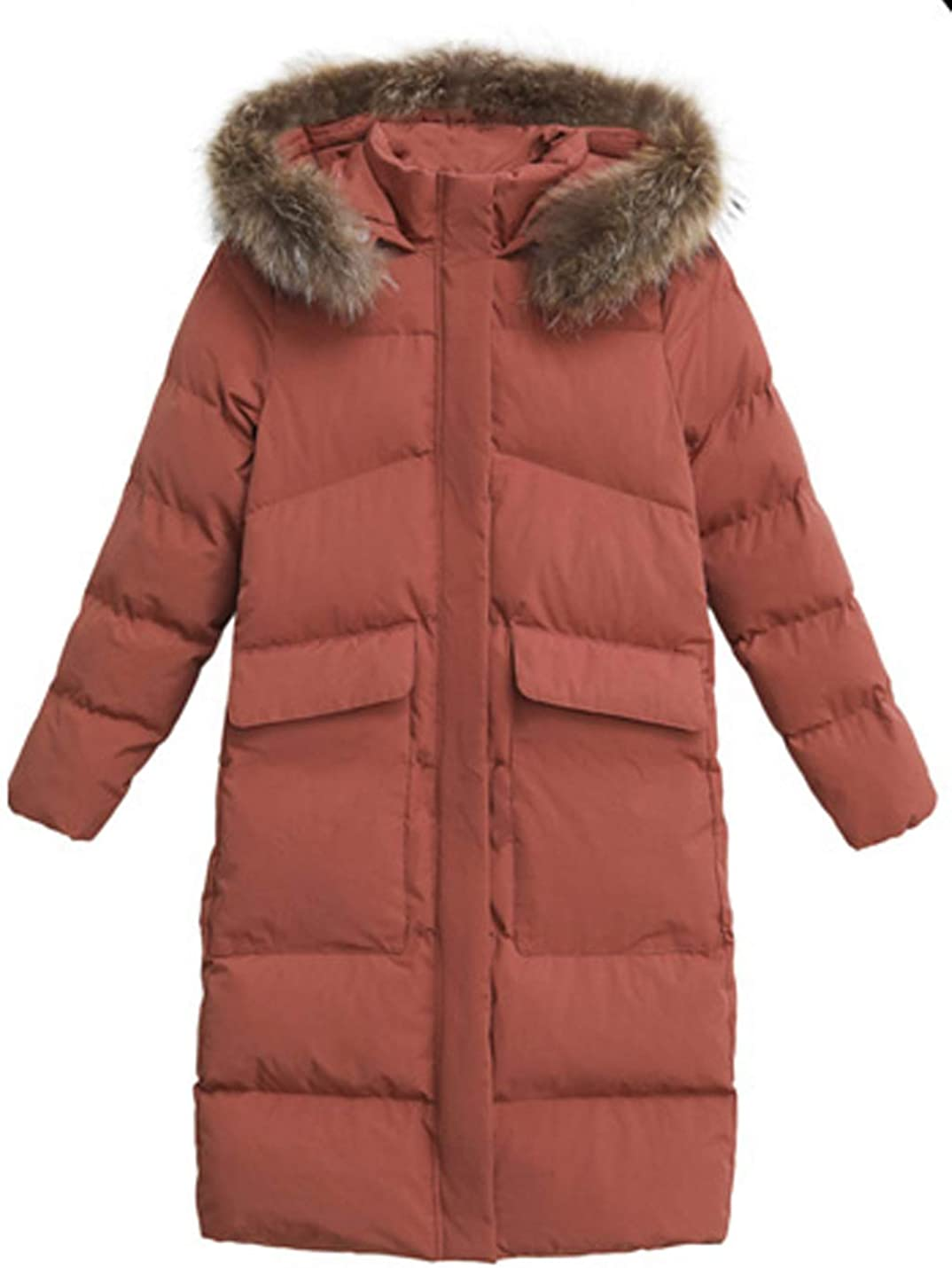Uaneo Women's Mid Long Slim Thicken Puffer Quilted Fur Collar Hooded Winter Coat(Camel-XS)