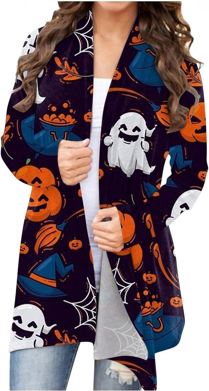 Halloween Cardigan Sweaters for Women,Women Long Sleeve Open Front Open Cardigan Pumpkin Sweatshirts Lightweight Coat