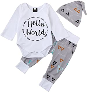 1050203b1 QUICKLYLY 3pcs Recién Nacido Infantil Bebé Chico Carta Impresión Mameluco  Tops + Flecha Pantalones + Sombrero