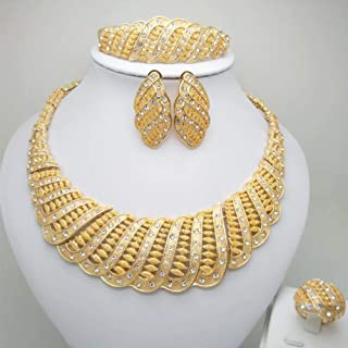 Gold Color Nigerian Wedding African Beads Jewelry Set Crystal Saudi Jewelry Sets Necklace Bracelet Earring Ring Sets