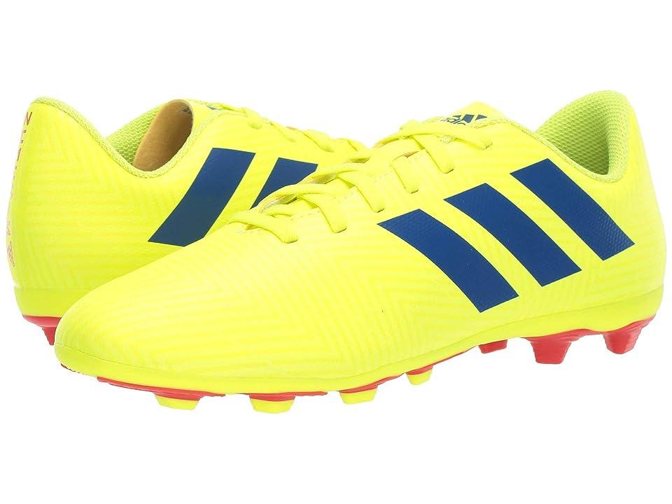 adidas Kids Nemeziz 18.4 FXG Soccer (Little Kid/Big Kid) (Solar Yellow/Blue/Active Red) Kids Shoes
