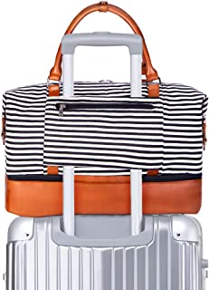 SUVOM Women Weekend Bag Canvas Overnight Travel Tote Bag Carry on Shoulder Duffel Bag With PU Leather Strap (Black & White Thin Stripe with shoe compartment)