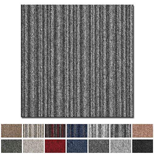 Vienna Tapijttegels, zelfliggend, rug: bitumen, antislip, duurzaam, vloerbedekking voor kantoor en bedrijf, 50 x 50 cm, vele kleuren antraciet gestreept
