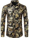 ZEROYAA Men's Luxury Paisley Gold Shiny Printed Stylish Slim Fit Button Down Dress Shirt ZLCL18 Black Gold Medium