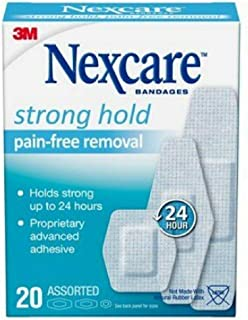 Nexcare Strong Hold Bandages, Assorted, 20 Bandages Per Box (3 Boxes)