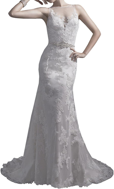 MILANO BRIDE Slim Wedding Dress For Bride Sheer Back Applique Crystals Train