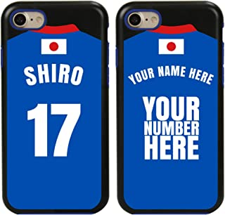 Custom Japan Flag Soccer Jersey Cases for iPhone 7/8 by Guard Dog – Personalized – Put Your Name and Number on a Phone Case. Includes Screen Protector (Black,Blue)