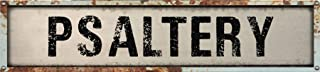 "Psaltery 8"" Rectangle White Weathered Painted Metal Rustic Look Decal Bumper Sticker for use on Any Smooth Surface"