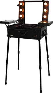 ANGEL BEAUTY PROFESSIONAL TROLLEY MAKE UP CASE W/LED LIGHT & STAND - BLACK