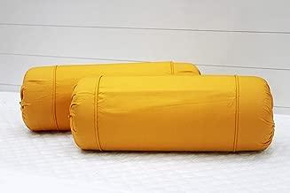 AURAVE Excel Cotton 2 Pieces Plain Bolster Cover Set - 16 X 32 inches, Mustard