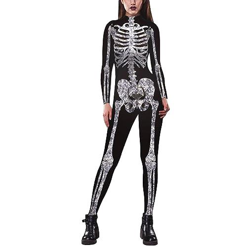 fc96a4f80a5f Leezeshaw Womens Fashion 3D Digital Print Long Sleeve Skinny Overall  Jumpsuit Halloween Unitard Bodysuit